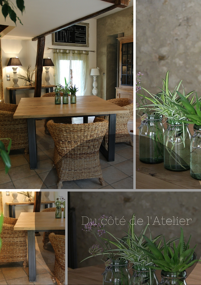Du c t de l 39 atelier table de salle manger carr e en for Table a manger style atelier