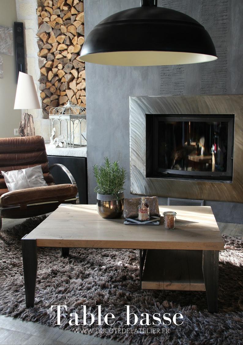 du c t de l 39 atelier table basse en ch ne acier esprit campagne chic et industriel mod le. Black Bedroom Furniture Sets. Home Design Ideas