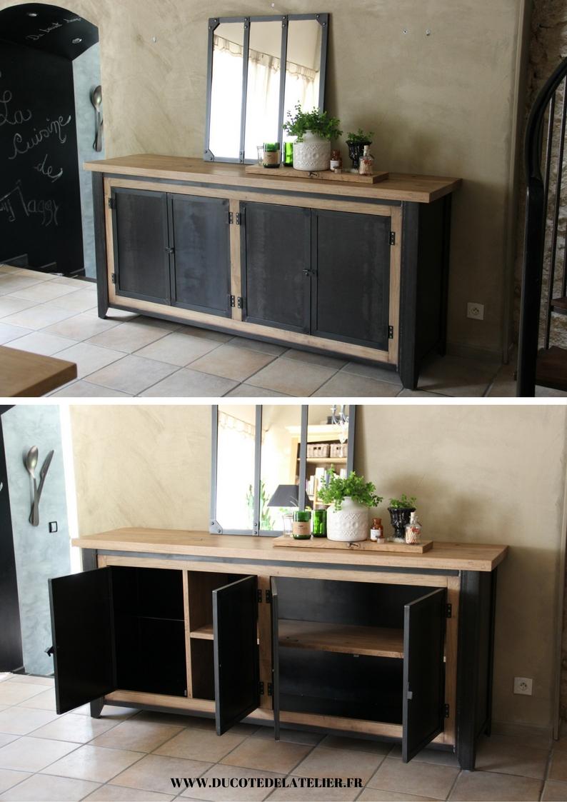 Meuble De Cuisine Bois Et Metal du côté de l'atelier » meuble de métier – buffet bas en bois